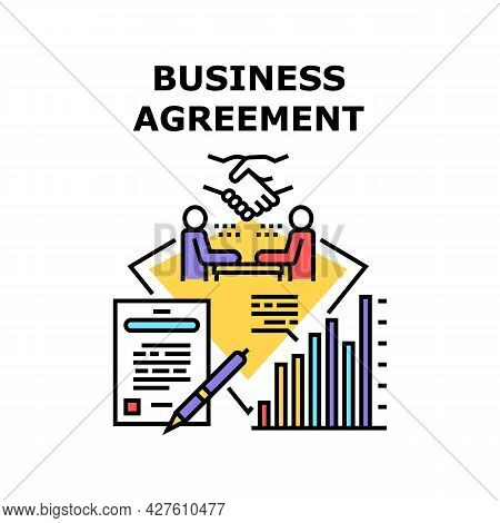 Business Agreement Signing Vector Icon Concept. Business Agreement Signing Businessman With Partner