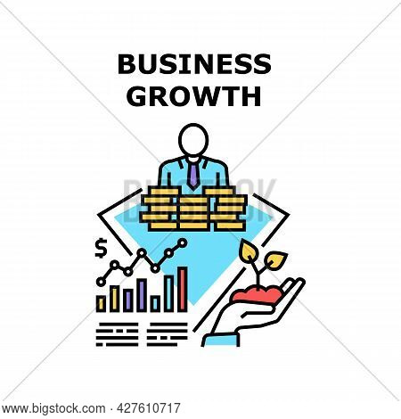 Business Growth Vector Icon Concept. Business Growth And Development, Businessman Growing Income And