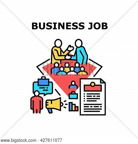 Business Job Vector Icon Concept. Searching Business Job And Sending Cv, Interview With Employer And
