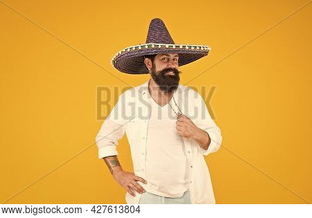Cinco De Mayo Mexican Celebration. Bearded Man In Sombrero And Poncho. Mexican Party Concept. Travel