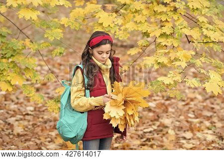 Quiet Morning. Good Mood At Any Weather. Autumn Kid Fashion. Romantic Season For Inspiration. Happy
