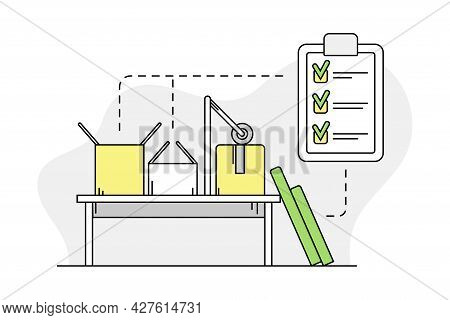 Furniture Item Order Batching With Cardboard Box And Check List Line Vector Illustration
