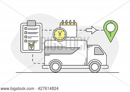 Furniture Item Delivery With Lorry Transporting Freight And Point Of Destination Line Vector Illustr