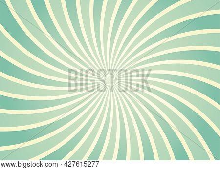 Sunlight Spiral Wide Background. Sage Green And Beige Color Burst Background. Vector Illustration. S
