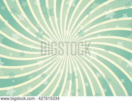 Sunlight Spiral Horizontal Background. Green And Beige Color Burst Background With Shining Stars. Ve