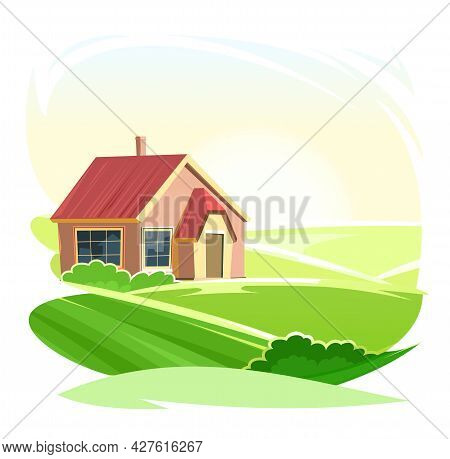 Rural House. In  In A Fun Cartoon Flat Style. Isolated On White Background. Gable Red Roof. Small Co