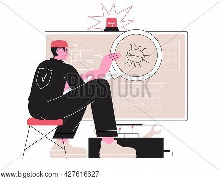 Man Fix Computer Or Laptop, Deleting Malware, Virus, Bug Or System Error. System Administrator Fixin