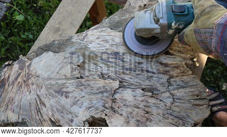 Woodworking Hobby Process, Close-up Of Working With Solid Wood With An Angle Saw, Hands With Fabric