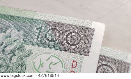 Macro Pln Polish 100 Zloty Banknotes Background. One Hundred Zloty Banknotes.