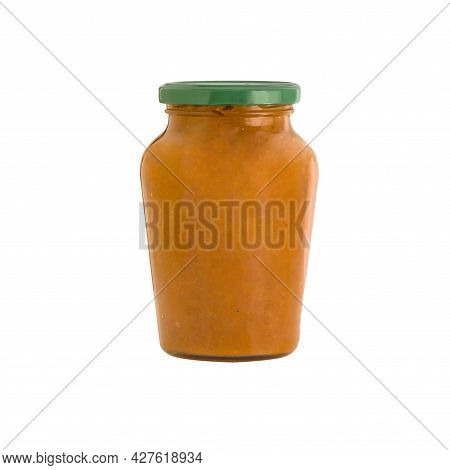 Glass Jar With Squash Caviar Isolated On White Background. Basil. Squash Spread, Zucchini Caviar And