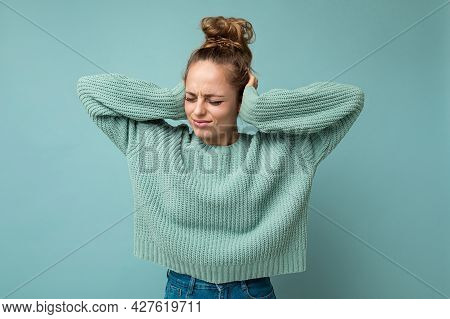 Portrait Of Young Emotional Sad Dissatisfied Attractive Blonde Woman With Sincere Emotions Wearing C