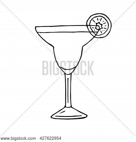 Vector Hand Drawn Doodle Sketch Margarita Cocktail Isolated On White Background