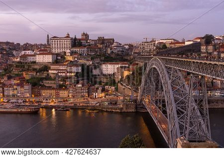 Porto, Portugal - November 30, 2019: View Of The City Of Porto At Sunset Since Luis I Bridge Lookout