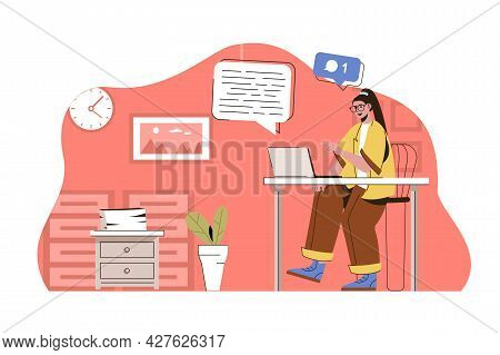 Media Space Concept. Woman Chatting With Friends On Social Networks Situation. Online Communication,
