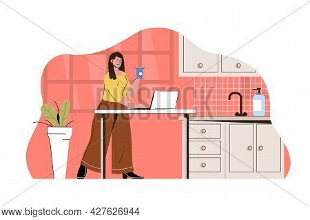 Outsource Work Concept. Woman Remote Worker Working In Kitchen Of Home Situation. Freelancer, Projec