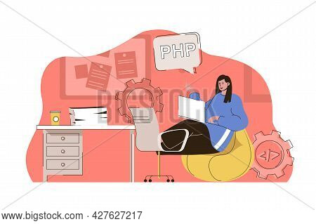 Programming Tools Concept. Woman Works In Different Programming Languages Situation. Software Develo