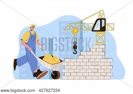 Real Estate Concept. Builder With Wheelbarrow Works At Building Site Situation. Construction Company