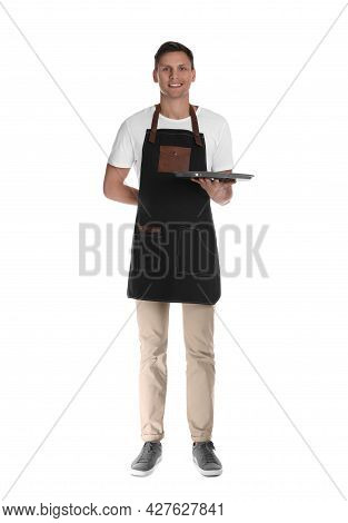 Full Length Portrait Of Happy Young Waiter With Tray On White Background