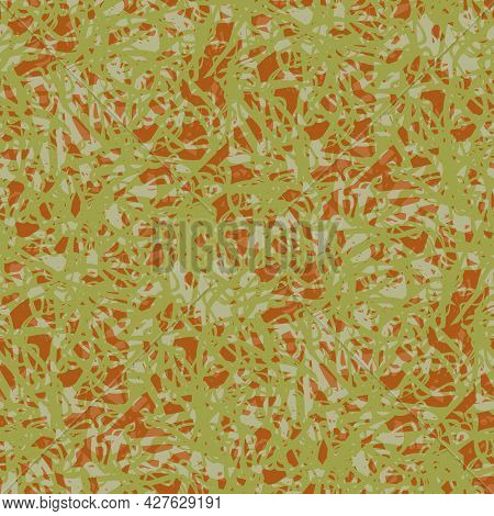 Abstract Lace Vector Seamless Pattern Background. Mottled Sage Green Ochre Brown Backdrop With Fibro