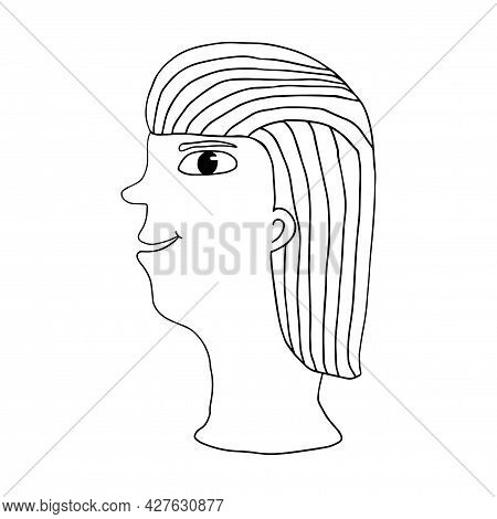 Cute Cartoon Abstract Doodle Woman Portrait Isolated On White Background. Woman Face.