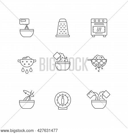 Food Cooking Instruction Linear Icons Set. Beat Ingredient In Bowl. Grate For Cutting. Meal Preparat