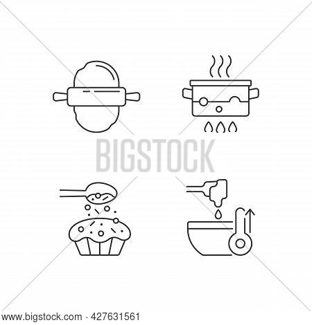Cookery Instructions Linear Icons Set. Boiling Water In Pot. Sprinkle On Cupcake. Cooking Process. C
