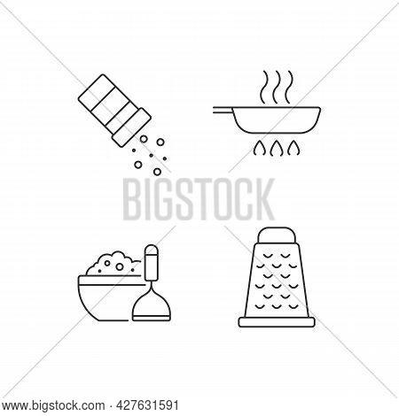 Home Cooking Linear Icons Set. Sprinkle Salt. Frying Pan. Mash Potato. Food Preparation. Customizabl