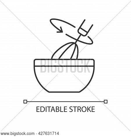 Stir Cooking Ingredient Linear Icon. Whisking In Bowl As Recipe Step. Whipped Cream Blend. Thin Line