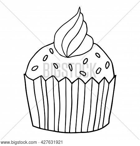 Cute Hand Drawn Cupcake Icon. Cake Of Black Thin Line Contour Isolated On White Background. Design E