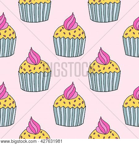 Cute Hand Drawn Cupcake Seamless Pattern. Doodle Cake Of Black Thin Line Contour Background.
