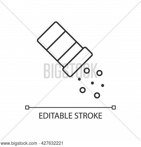 Sprinkle Salt Linear Icon. Seasoning Dish With Pepper. Pouring Condiment. Food Preparation. Thin Lin