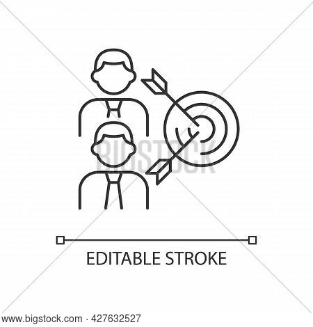 Common Goal Linear Icon. Colleagues Aim Towards Common Goal. Two Men And Arrows. Thin Line Customiza