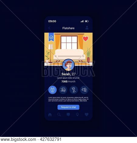 Flatshare Application Smartphone Interface Vector Template. Roommate Finder. Mobile App Page Design