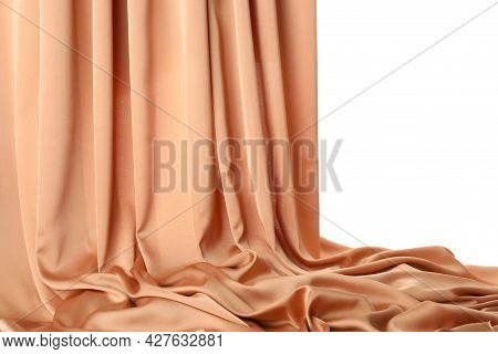 Beautiful Delicate Peach Silk Isolated On White