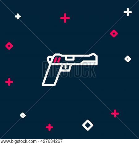 Line Pistol Or Gun Icon Isolated On Blue Background. Police Or Military Handgun. Small Firearm. Colo