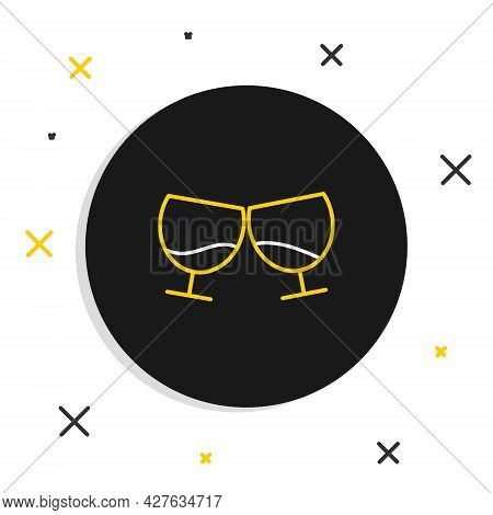 Line Glass Of Cognac Or Brandy Icon Isolated On White Background. Colorful Outline Concept. Vector