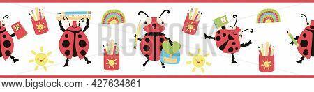 Ladybug Back To School Vector Seamless Border. Fun Cartoon Banner Kawaii Ladybird Characters With Ba