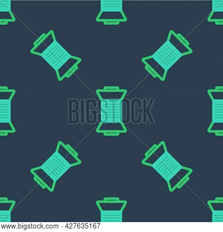 Line Sewing Thread On Spool Icon Isolated Seamless Pattern On Blue Background. Yarn Spool. Thread Bo