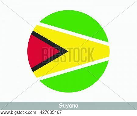 Guyana Round Circle Flag. Guyanese Circular Button Banner Icon. Eps Vector