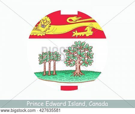 Prince Edward Island Canada Round Circle Flag. Pe Canadian Province Circular Button Banner Icon. Eps