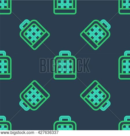 Line Pet Carry Case Icon Isolated Seamless Pattern On Blue Background. Carrier For Animals, Dog And