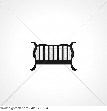 Baby Crib Or Infant Bed With Hanging Toys Icon. Baby Cradle Simple Vector Icon. Baby Cradle Isolated