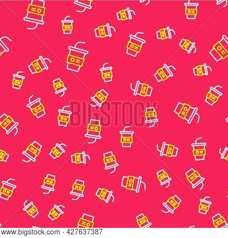 Line Paper Glass With Drinking Straw And Water Icon Isolated Seamless Pattern On Red Background. Sod
