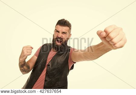 Extremely Satisfied. Fashion Trend Beard Grooming. Guy Expressing Success. Hipster With Beard Brutal