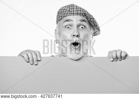 Senior Bearded Man Peeking Out Of Banner Place Information. Timing And Schedule. Public Information.