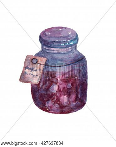 Medical Pill Or Tablets Isolated On A White Background. Tablets Or Pillsin Jar. Pink Pills In A Blue