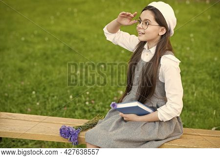 Elegant Schoolgirl Child Girl Reading Book In Park, Elite School Concept