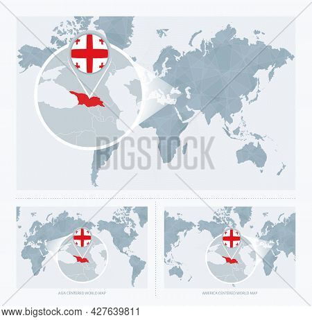 Magnified Georgia Over Map Of The World, 3 Versions Of The World Map With Flag And Map Of Georgia. V