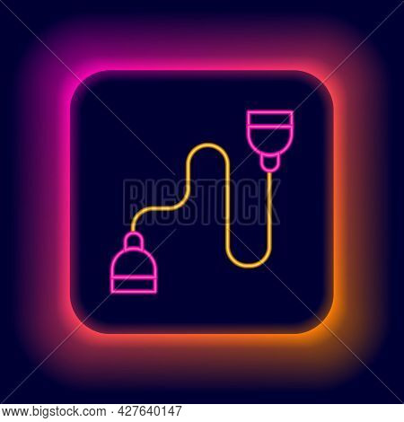 Glowing Neon Line Chest Expander Icon Isolated On Black Background. Colorful Outline Concept. Vector