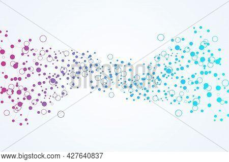 Structure Molecule And Communication. Dna, Atom, Neurons. Scientific Concept For Your Design. Connec